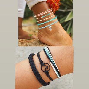 Pack/6 Boho Layered Anklet Set Blue Beaded Ankle